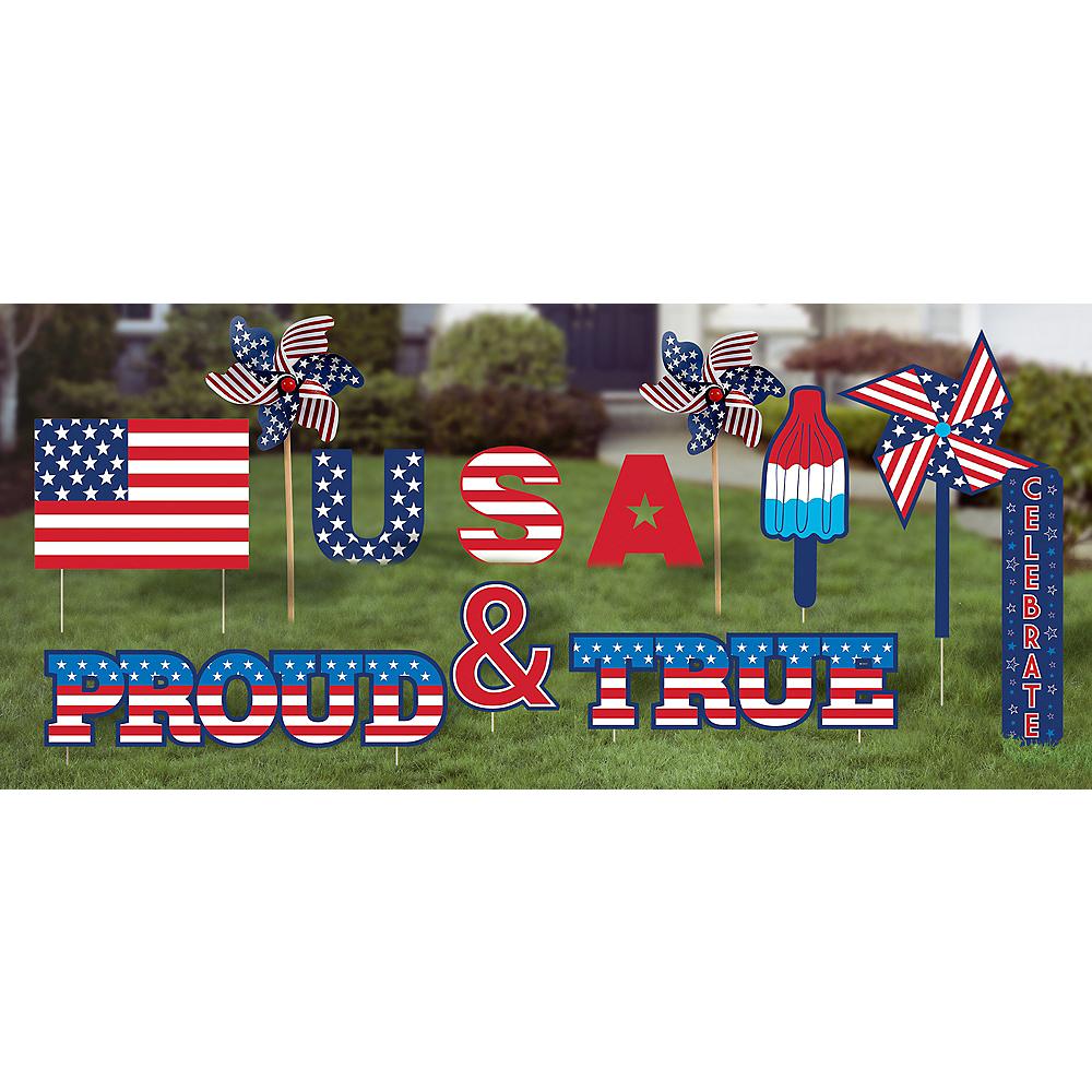 Patriotic Proud & True Yard Sign Set 12pc Image #1