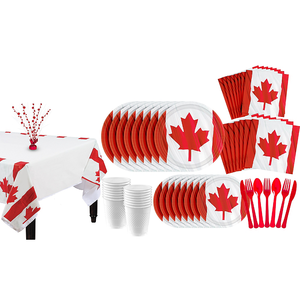Waving Canadian Flag Party Pack for 40 Guests Image #1