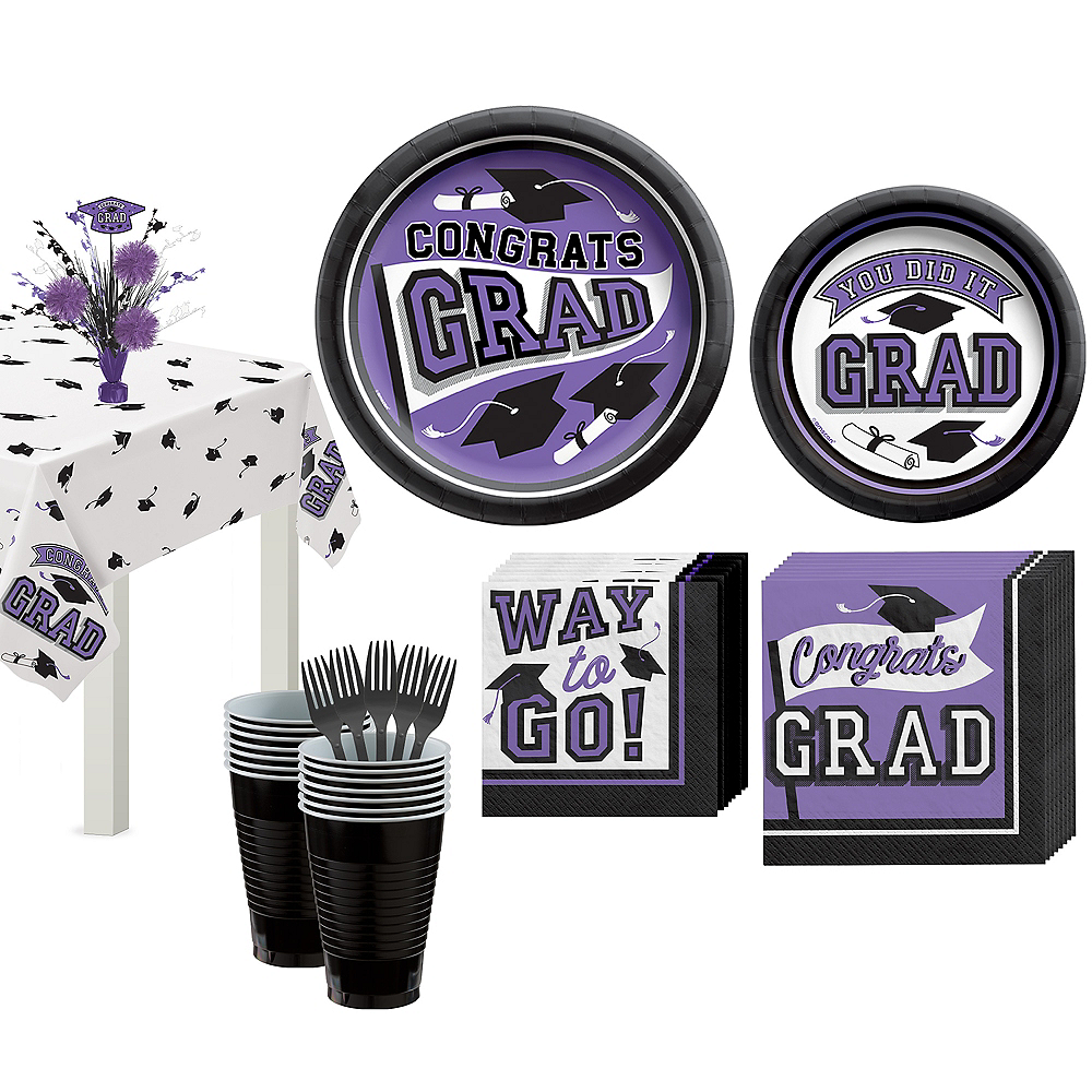 Congrats Grad Purple Graduation Tableware Kit for 18 Guests Image #1