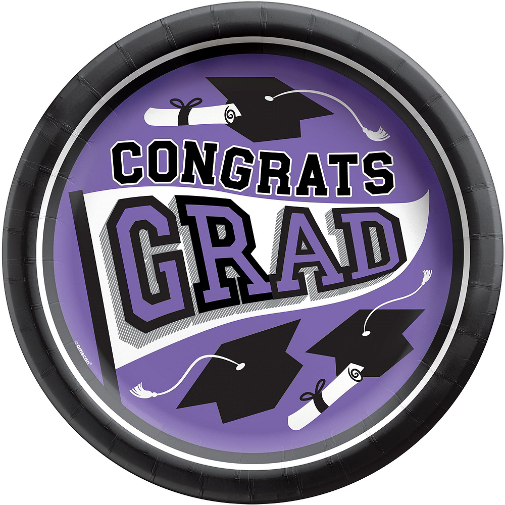 Congrats Grad Purple Graduation Tableware Kit for 18 Guests Image #3