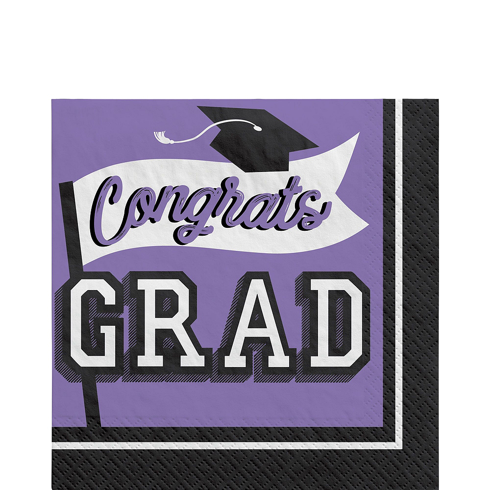 Congrats Grad Purple Graduation Tableware Kit for 18 Guests Image #5