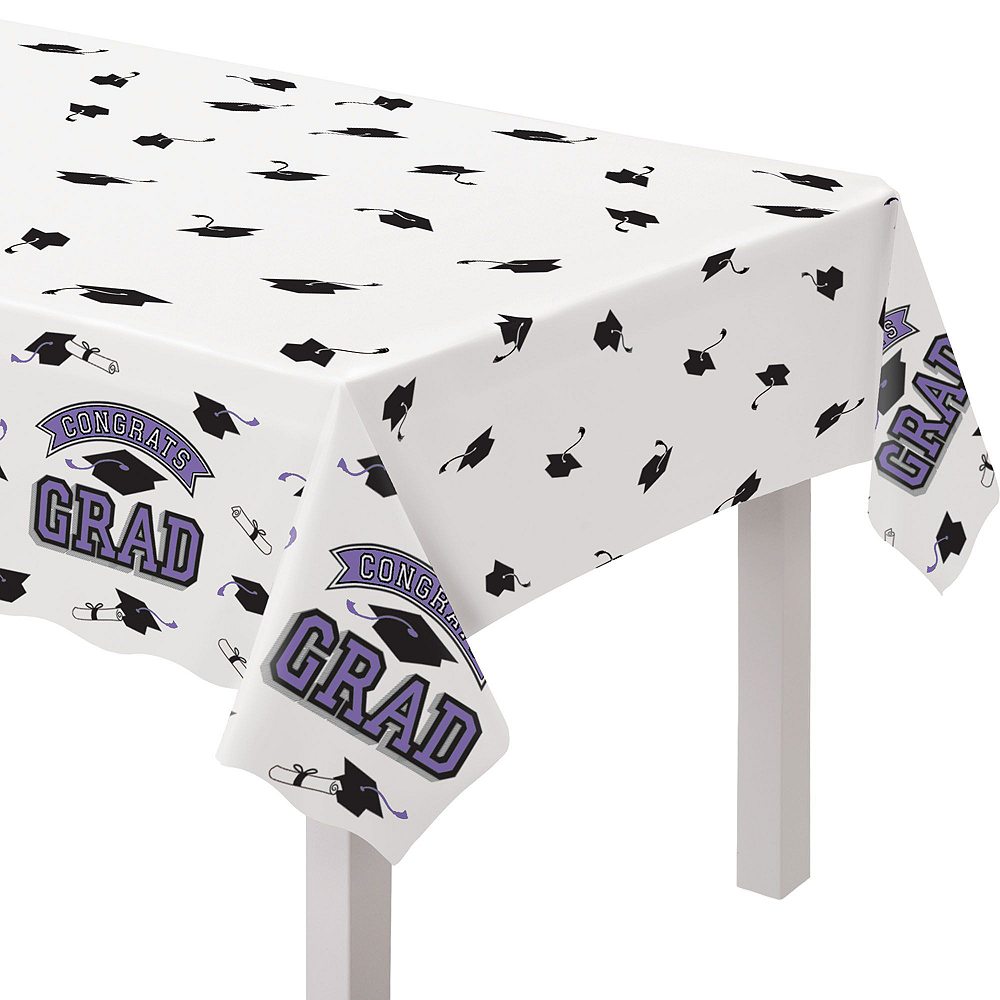 Congrats Grad Purple Graduation Tableware Kit for 18 Guests Image #7