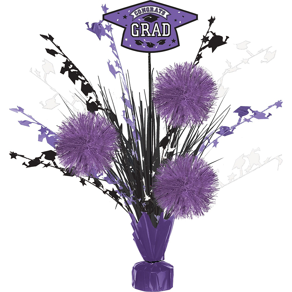 Congrats Grad Purple Graduation Tableware Kit for 18 Guests Image #8