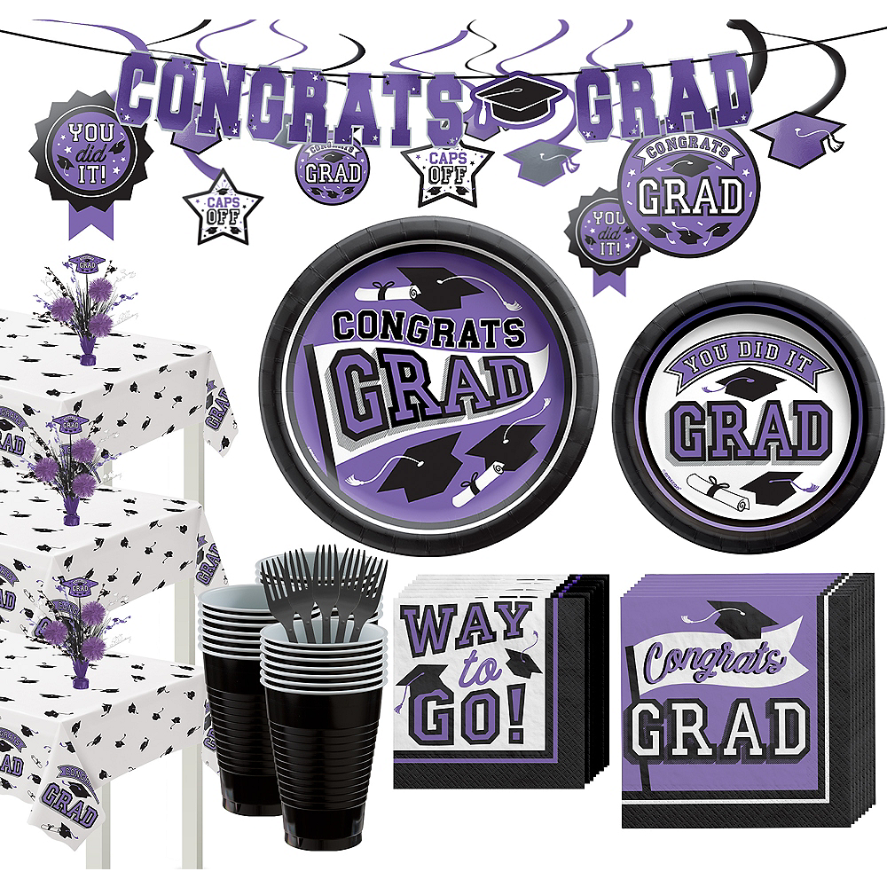 Super Congrats Grad Purple Graduation Party Kit for 54 Guests Image #1