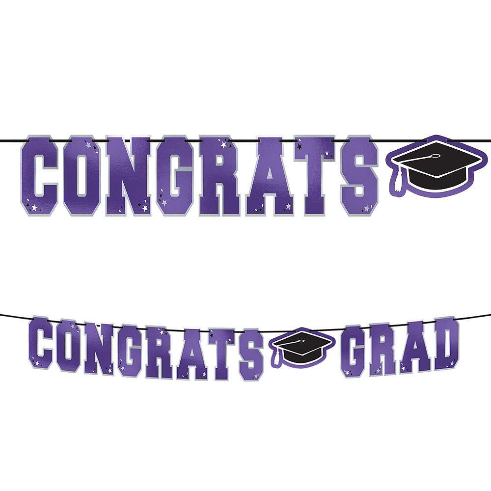 Super Congrats Grad Purple Graduation Party Kit for 54 Guests Image #3
