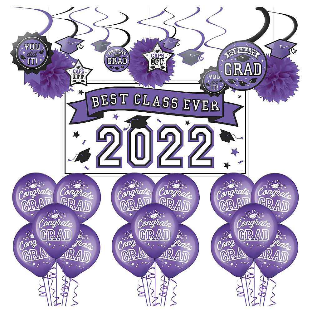 Congrats Grad Purple Graduation Decorating Kit with Balloons Image #1