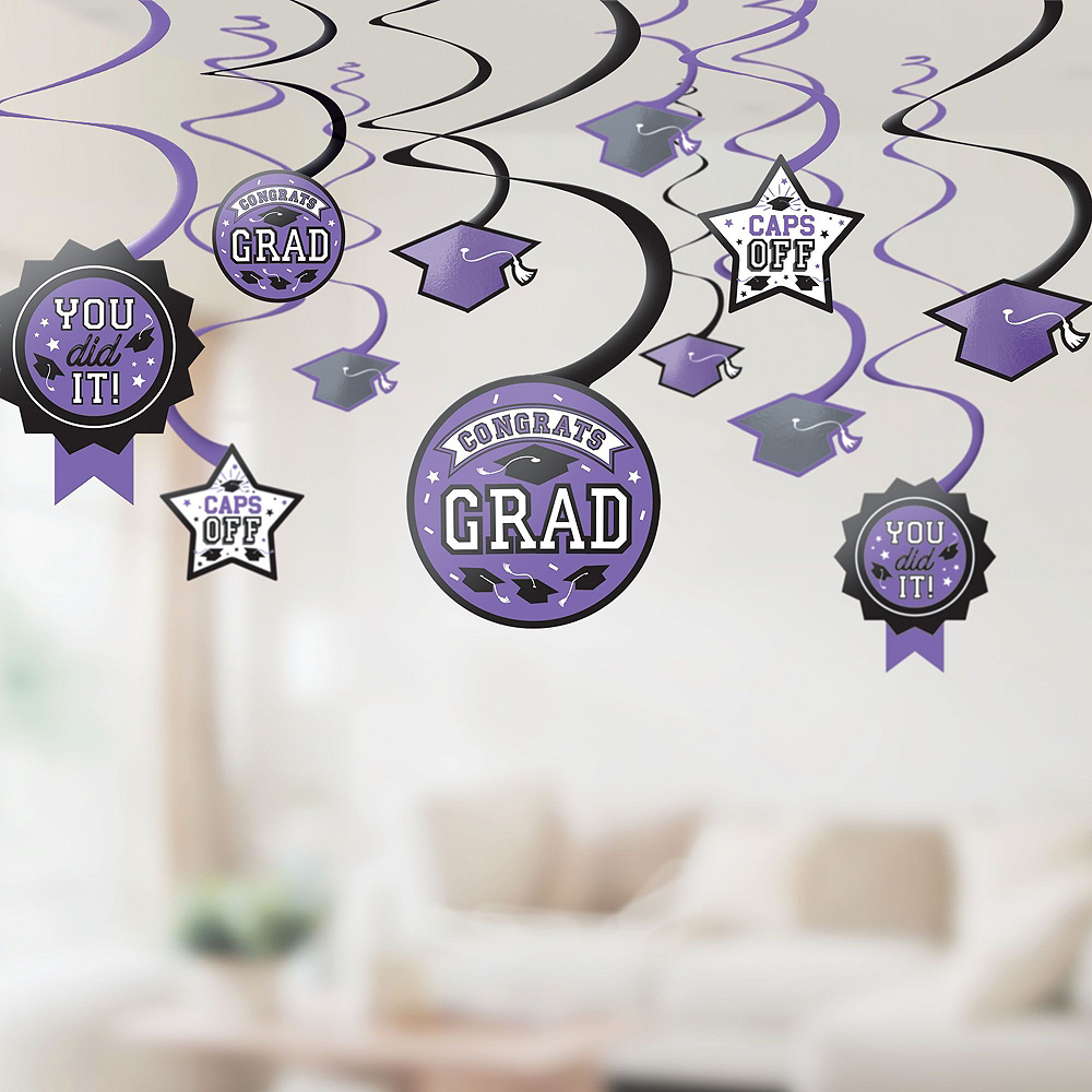 Congrats Grad Purple Graduation Decorating Kit with Balloons Image #2