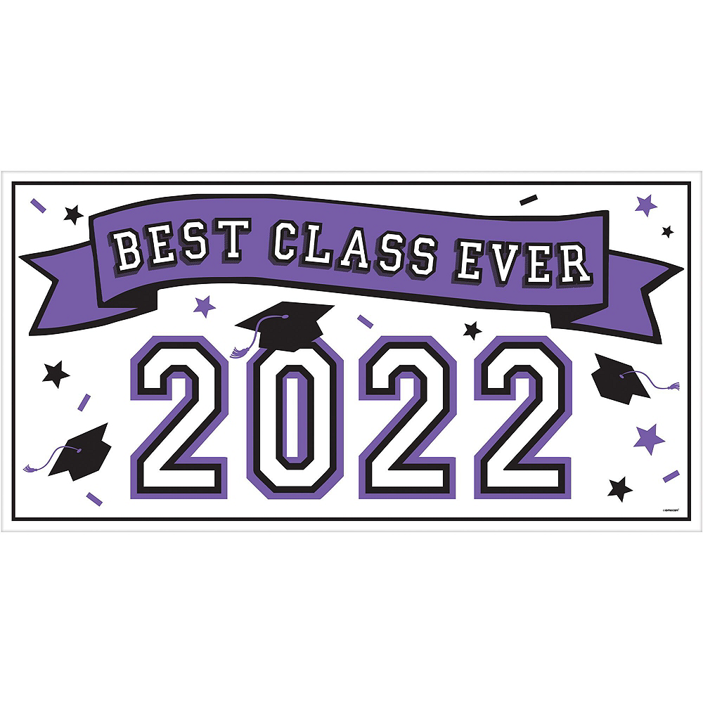 Congrats Grad Purple Graduation Deluxe Decorating Kit with Balloons Image #2