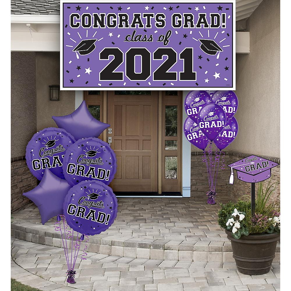 Congrats Grad Purple Graduation Outdoor Decorations Kit ...