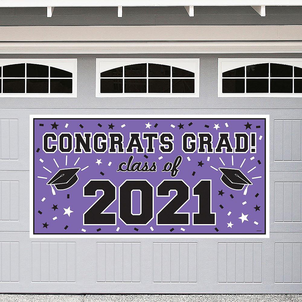 Congrats Grad Purple Graduation Outdoor Decorations Kit Image #2