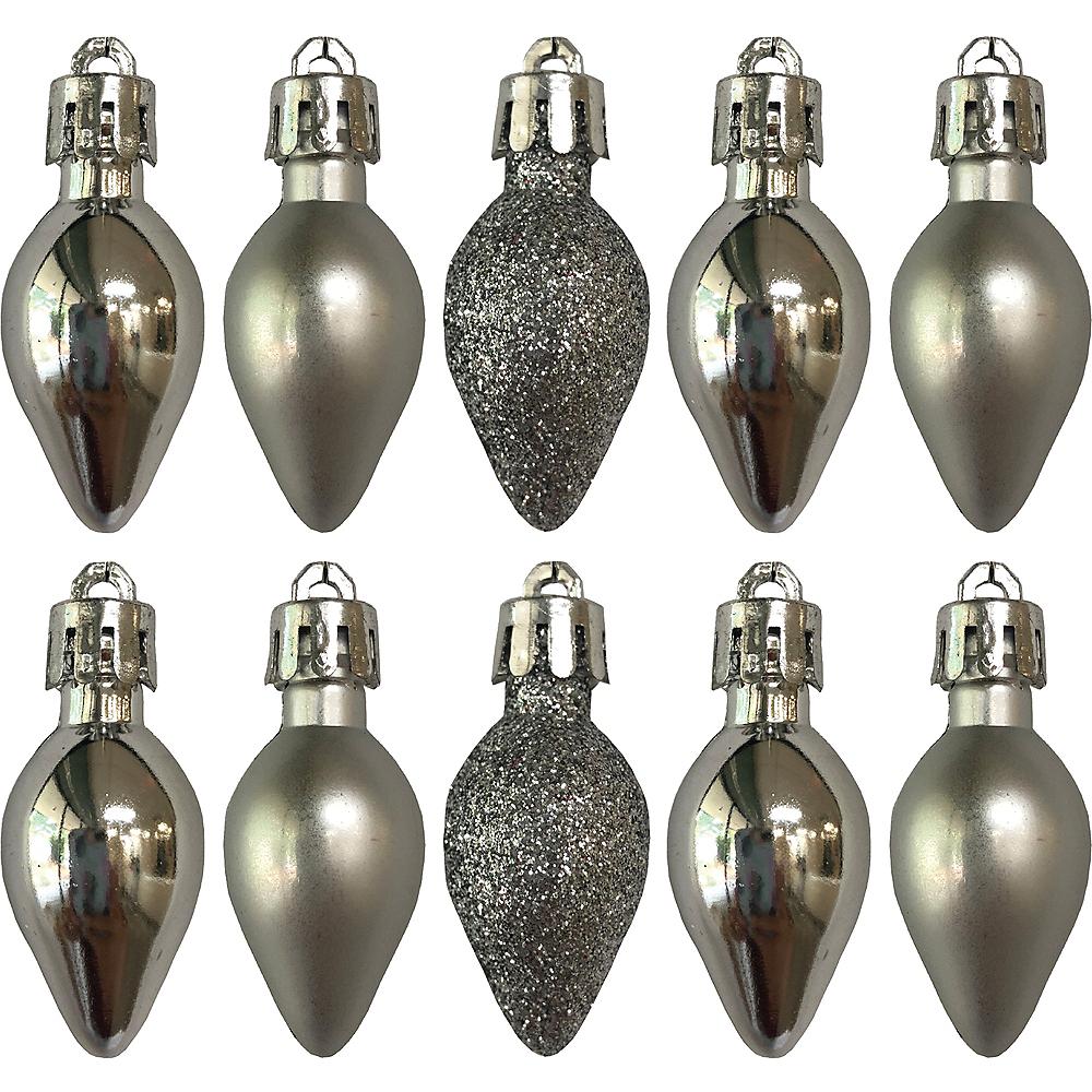 Silver Bulb Ornaments 10ct Image #1