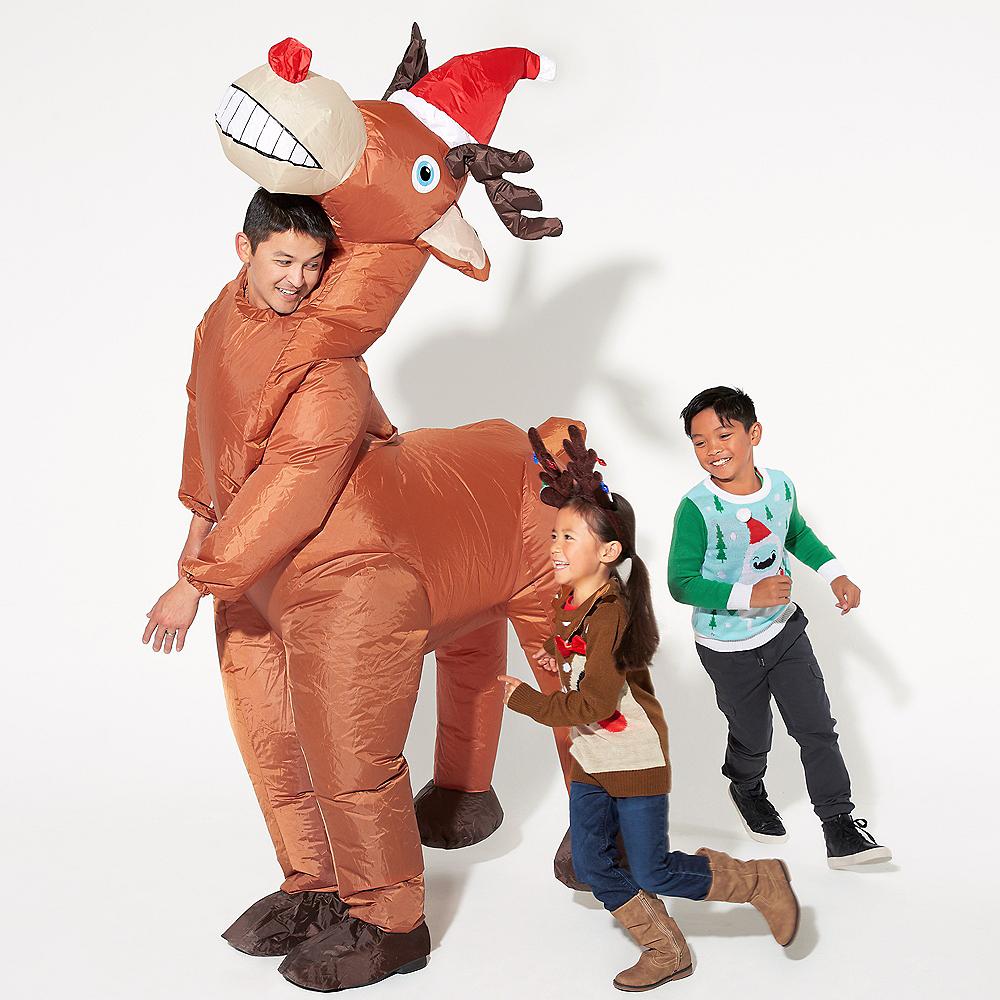 Adult Inflatable Christmas Reindeer Costume Image #3