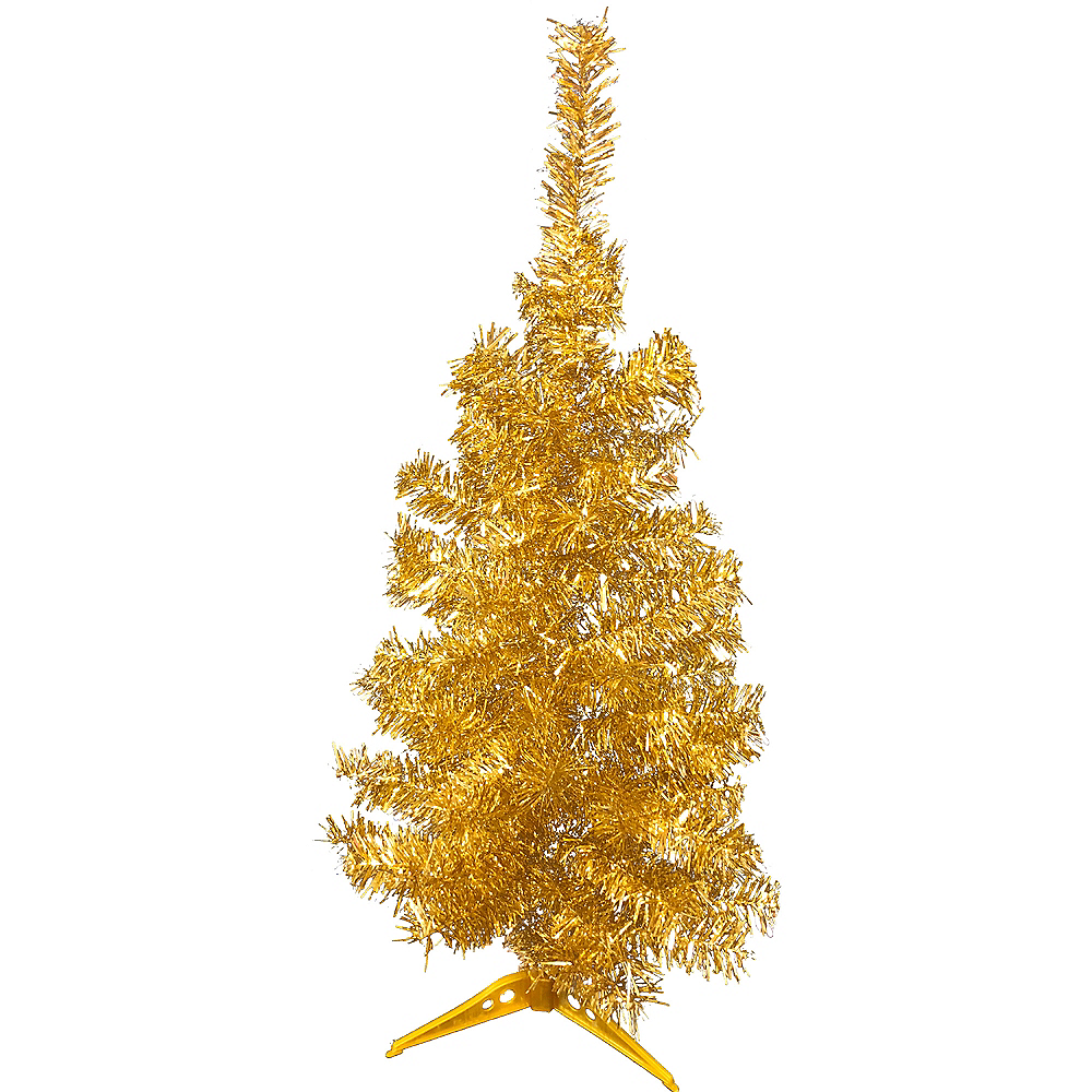 Gold Tinsel Christmas Tree Image #1