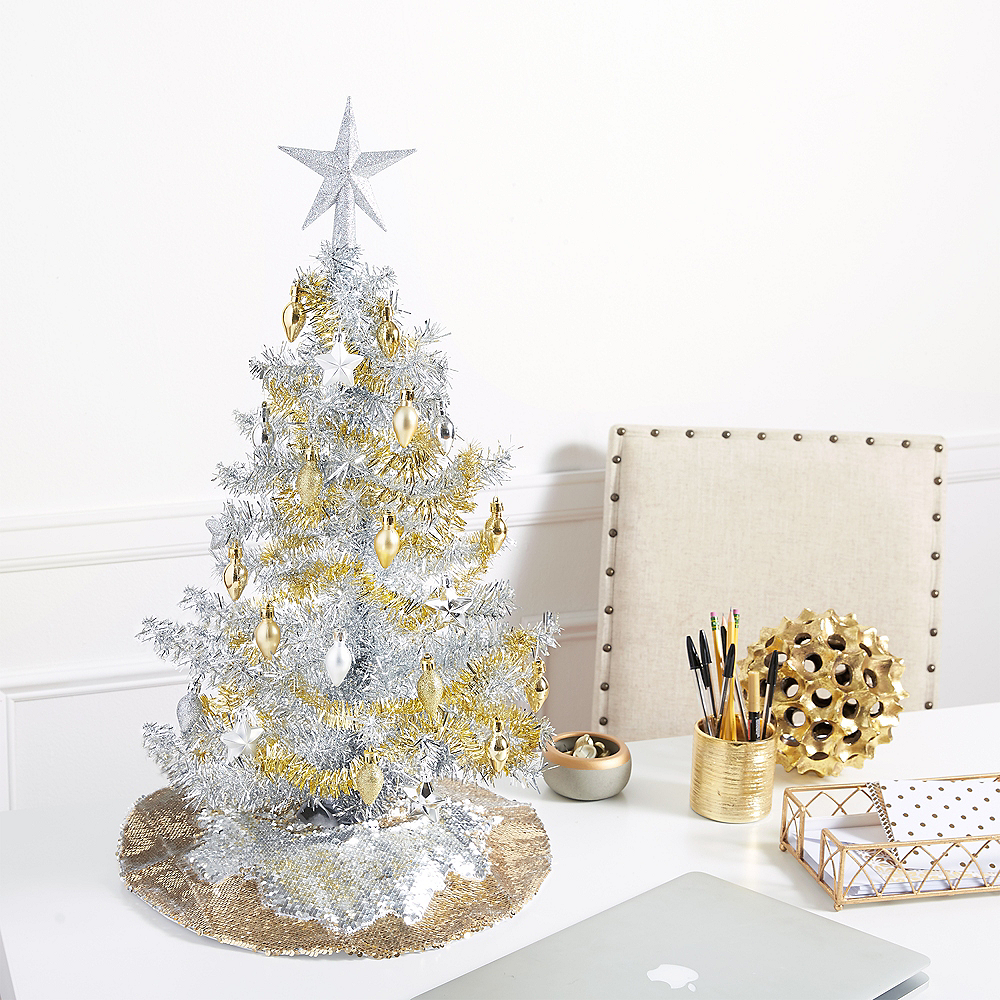 Silver Tinsel Christmas Tree 28in | Party City