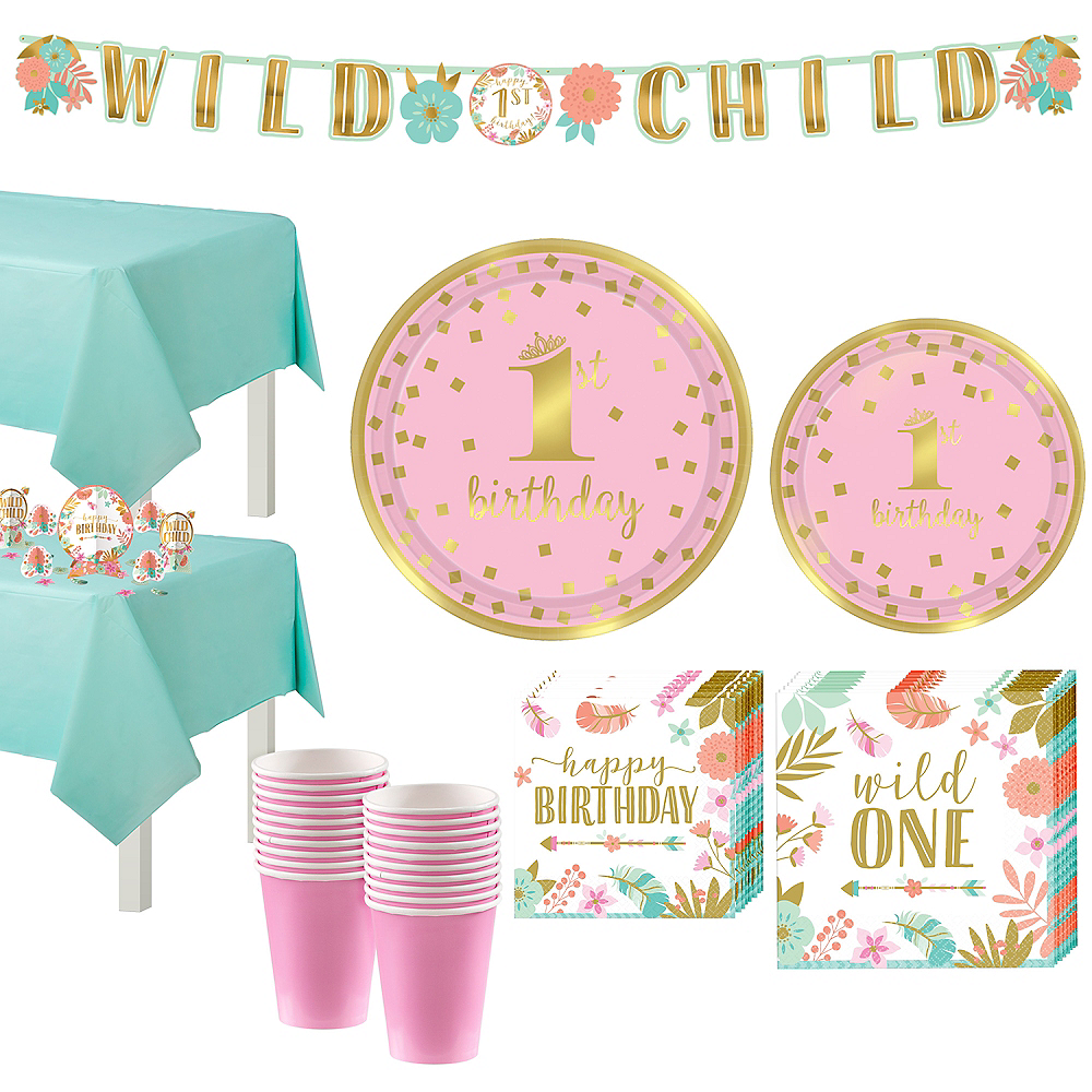 Boho Girl 1st Birthday Party Kit For 16 Guests Image 1