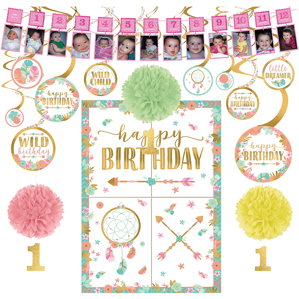 Boho Girl 1st Birthday Decorating Kit Image 1