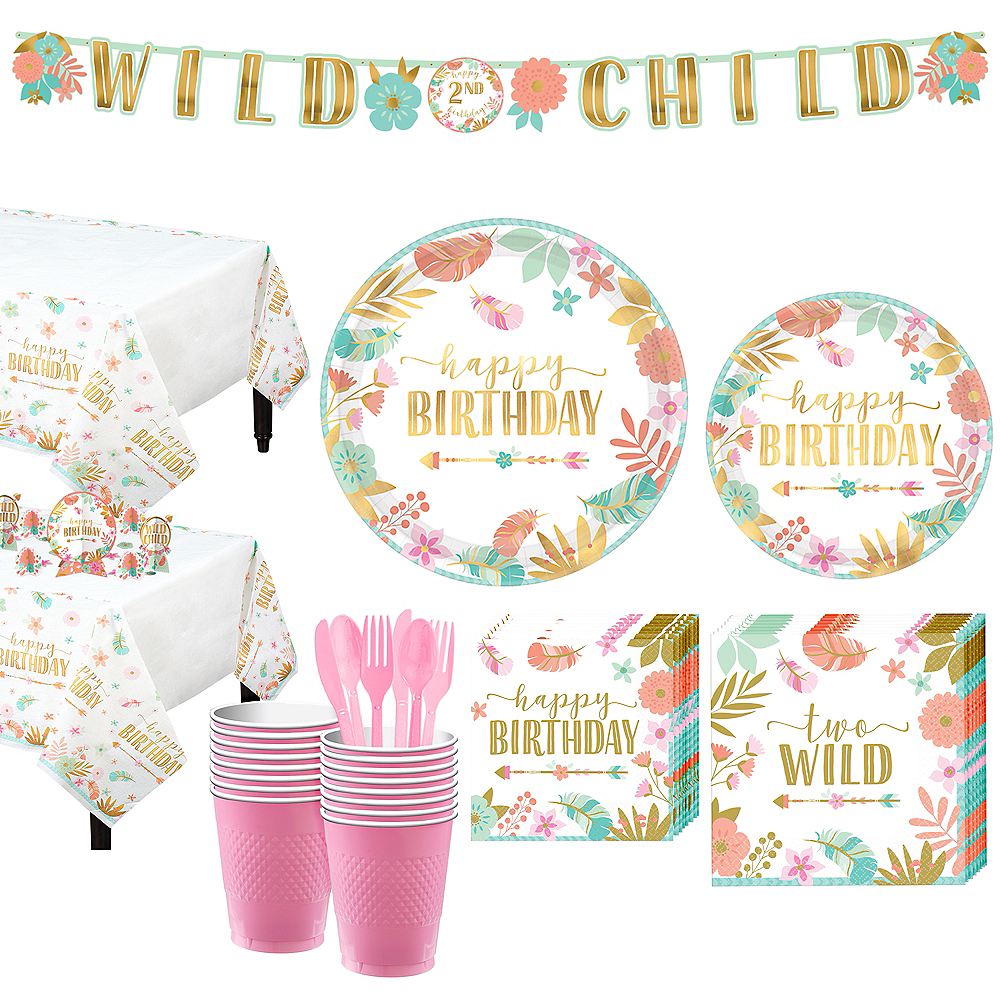 Boho Girl 2nd Birthday Party Kit For 16 Guests