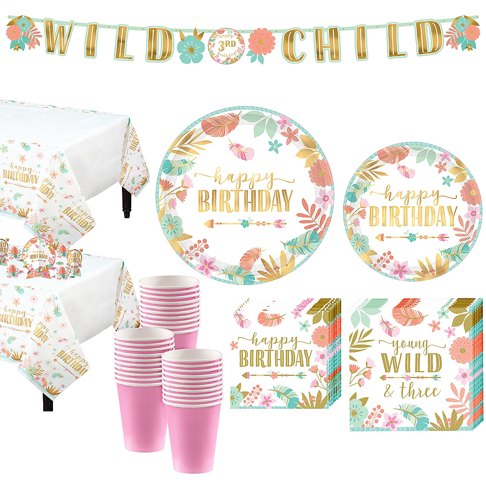 Blakely S 3rd Birthday Party: Boho Girl 3rd Birthday Party Kit For 32 Guests