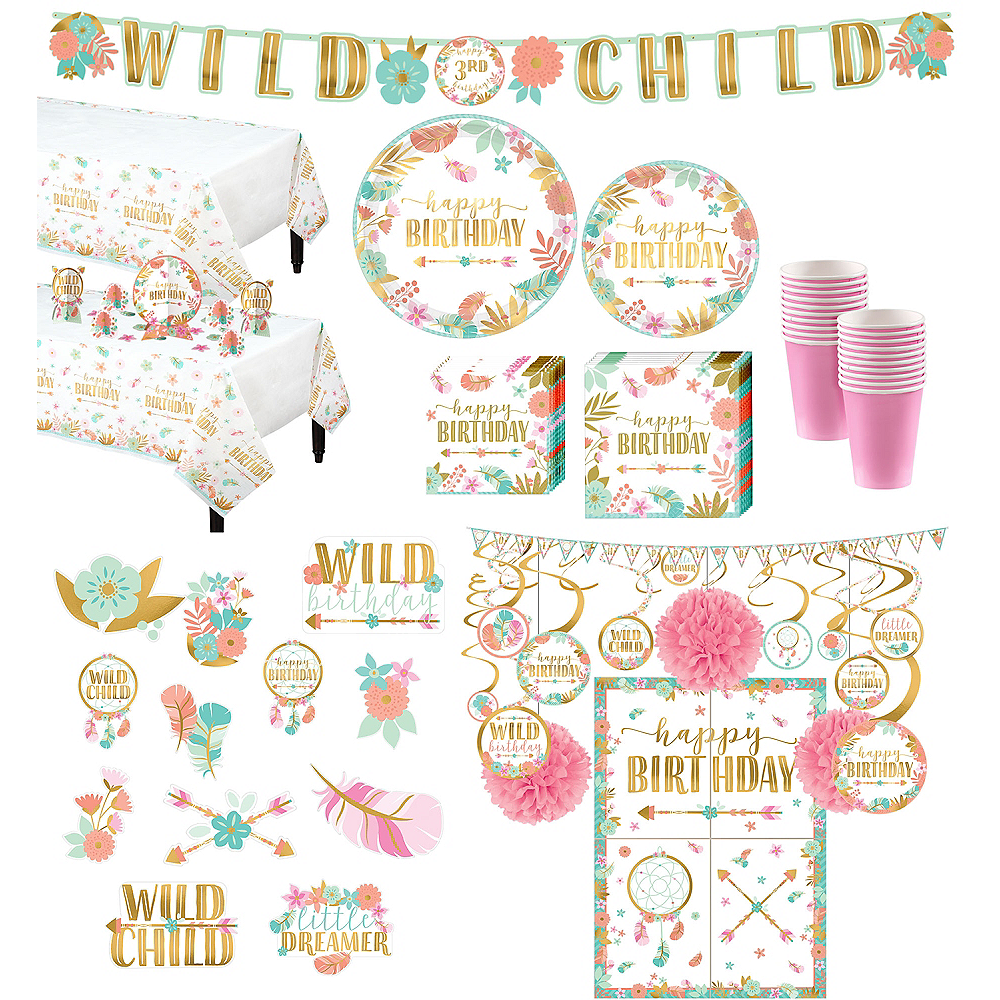 Ultimate Boho Girl Birthday Party Kit for 32 Guests Image #1