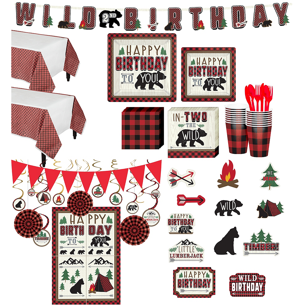 Ultimate Little Lumberjack 2nd Birthday Party Kit for 32 Guests Image #1