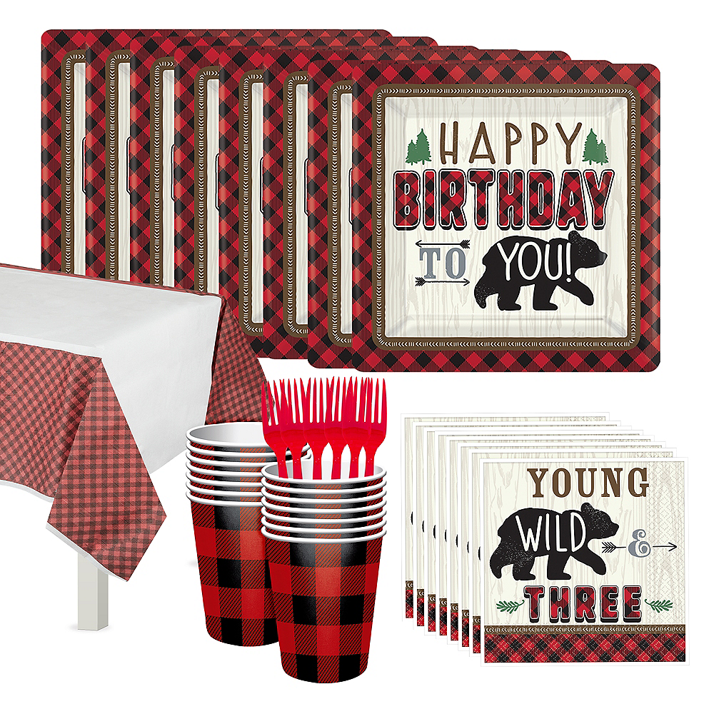 Little Lumberjack 3rd Birthday Party Kit for 16 Guests Image #1