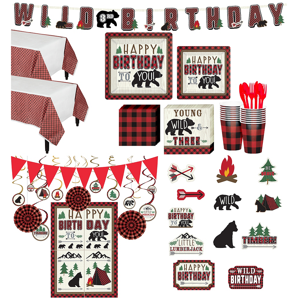 Ultimate Little Lumberjack 3rd Birthday Party Kit for 32 Guests Image #1