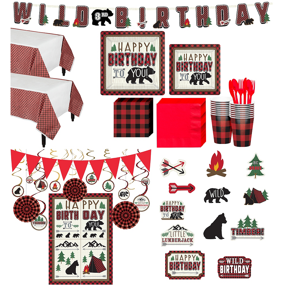 Ultimate Little Lumberjack Birthday Party Kit for 32 Guests Image #1