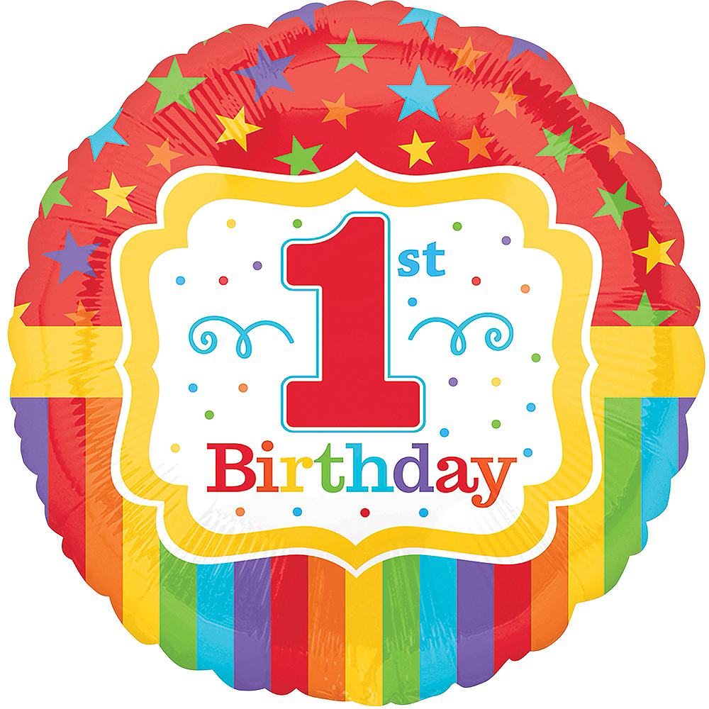 Rainbow Stars & Stripes 1st Birthday Balloon 17in Image #1