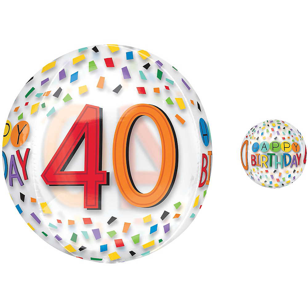Colorful Confetti 40th Birthday Balloon - See Thru Orbz Image #1
