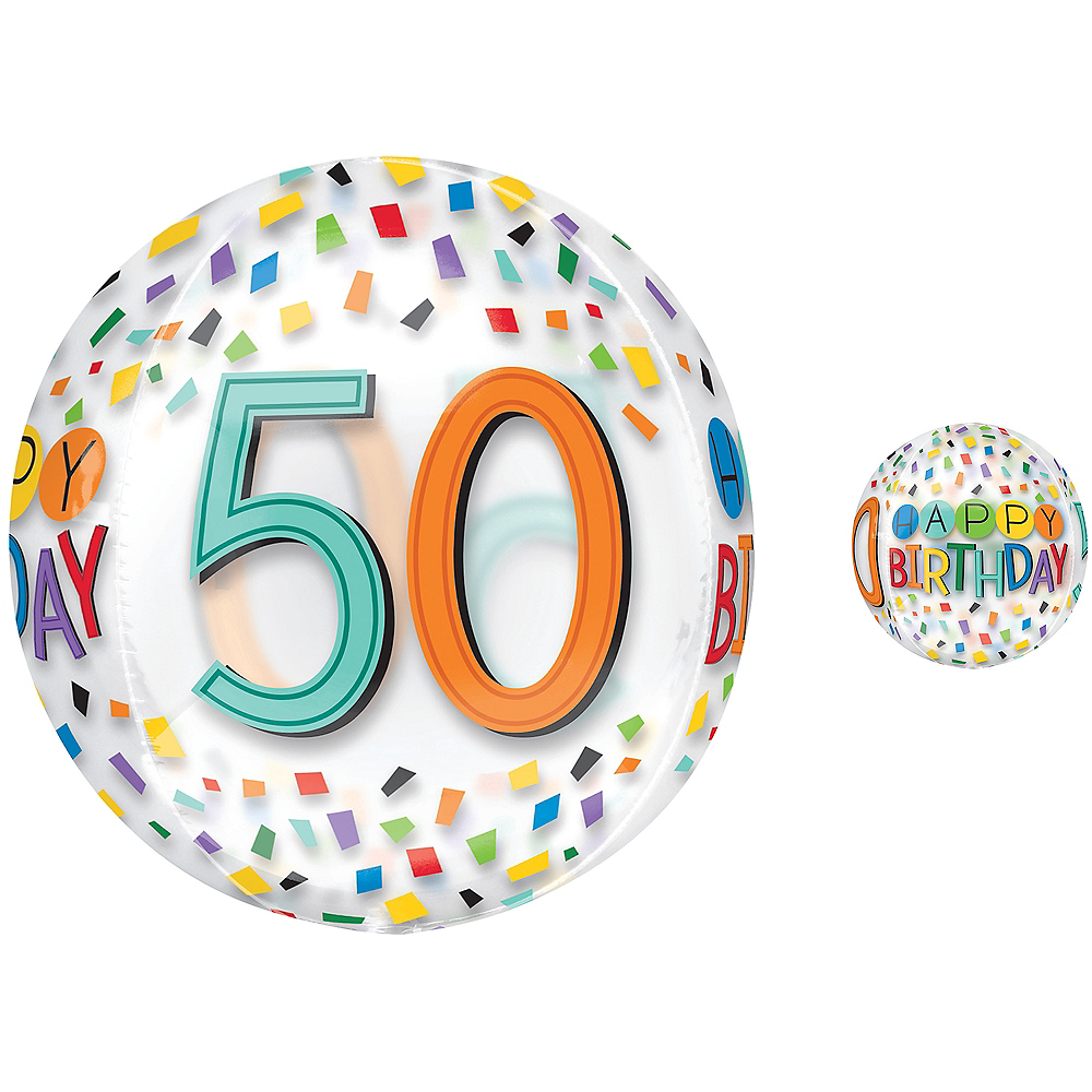 Colorful Confetti 50th Birthday Balloon - See Thru Orbz Image #1