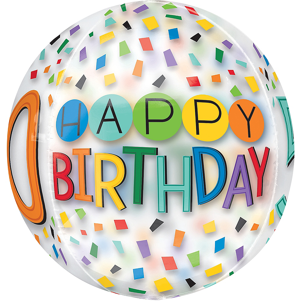 Colorful Confetti 50th Birthday Balloon - See Thru Orbz Image #2