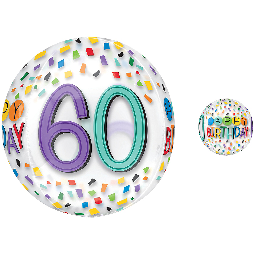 Nav Item for Colorful Confetti 60th Birthday Balloon - See Thru Orbz Image #1