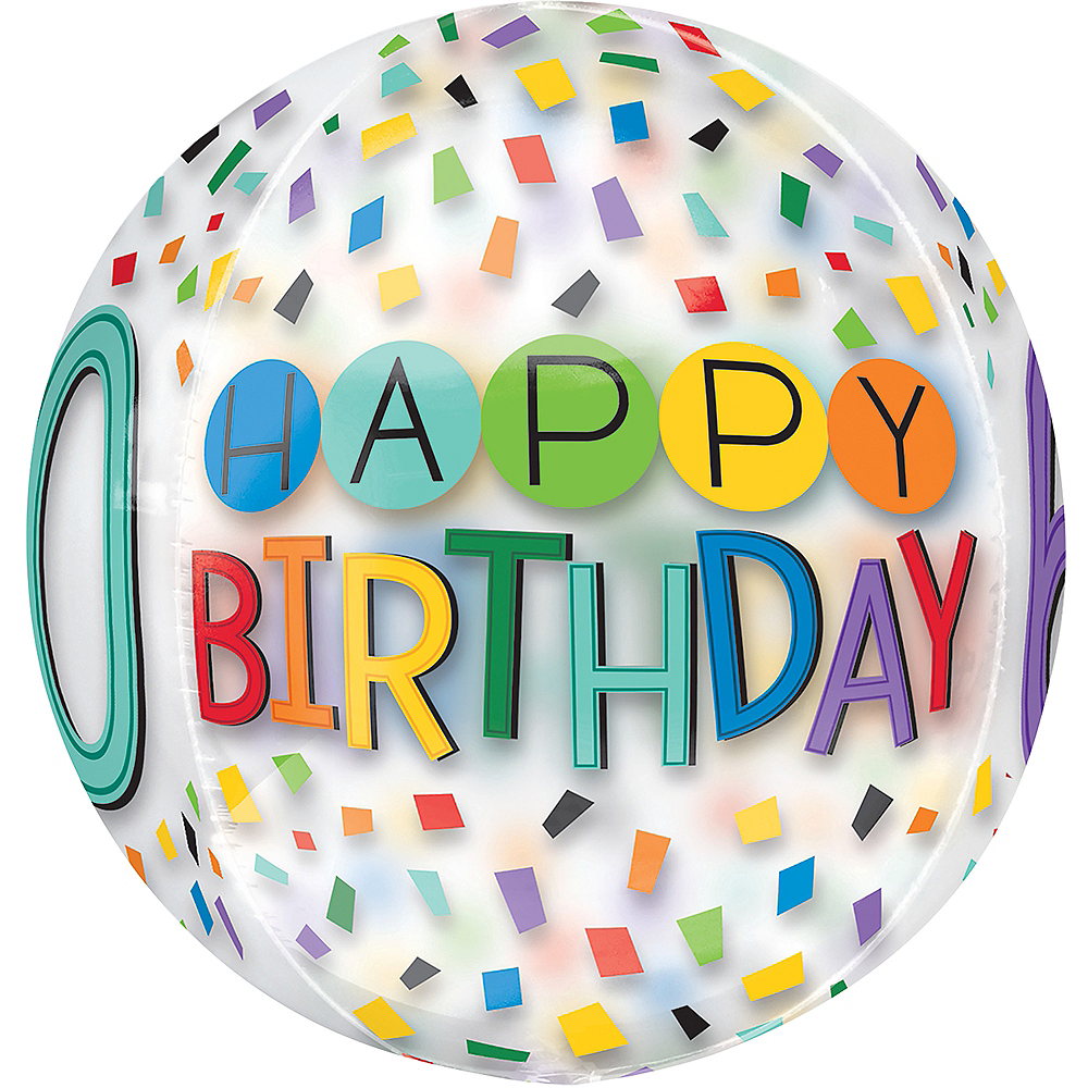 Colorful Confetti 60th Birthday Balloon - See Thru Orbz Image #2