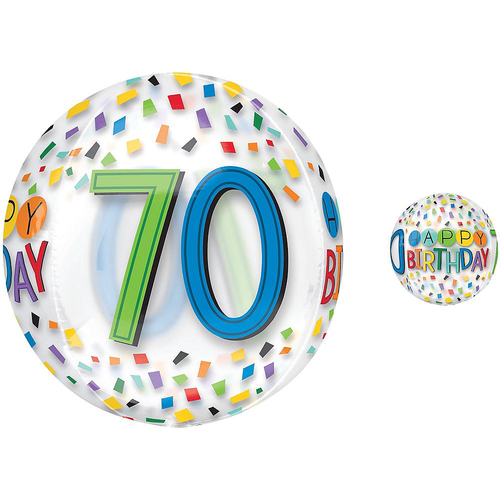 Colorful Confetti 70th Birthday Balloon - See Thru Orbz Image #1