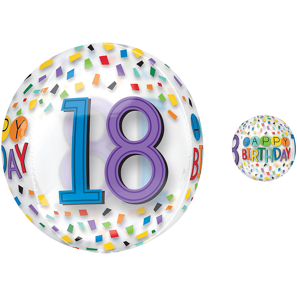 Colorful Confetti 18th Birthday Balloon - See Thru Orbz Image #1
