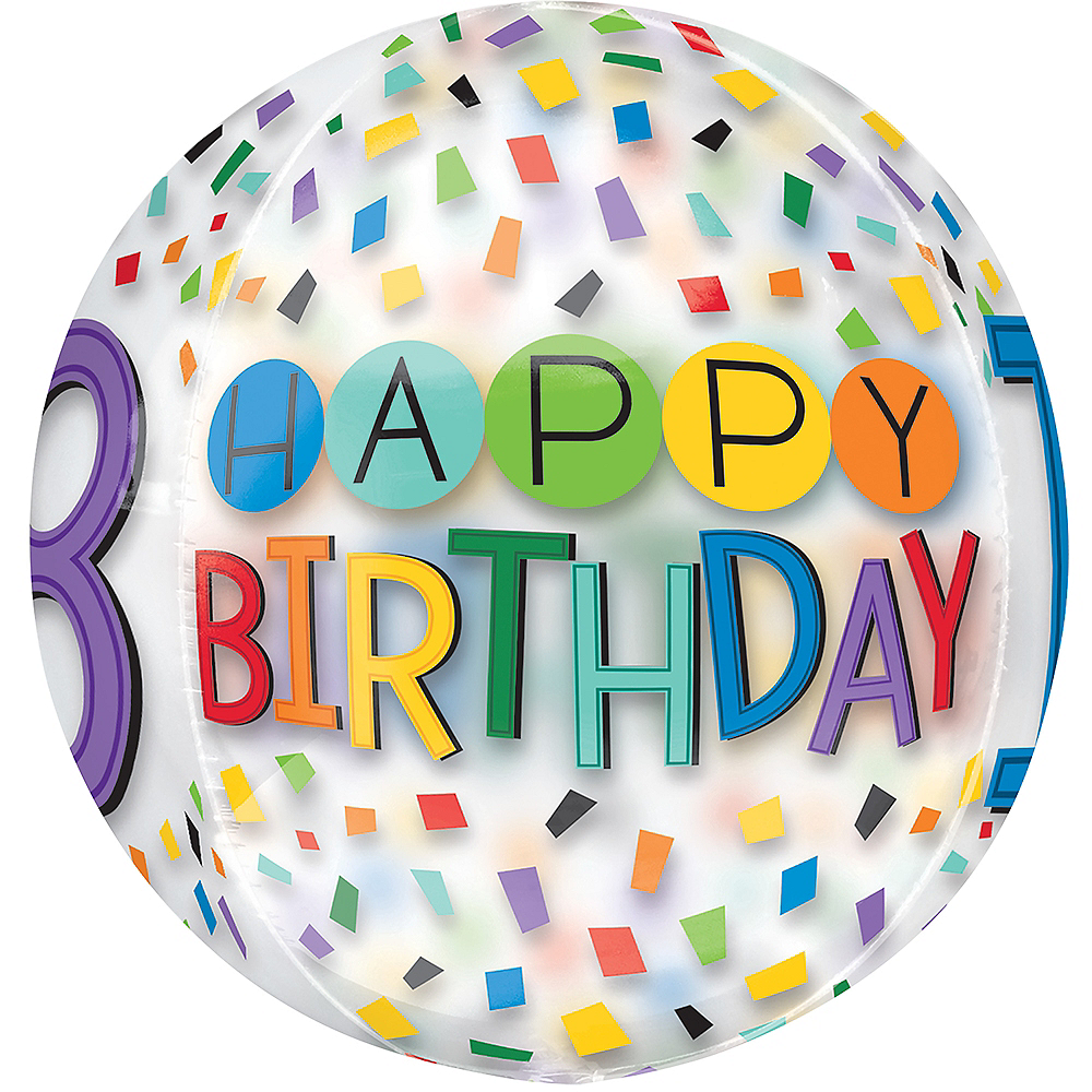 Colorful Confetti 18th Birthday Balloon - See Thru Orbz Image #2