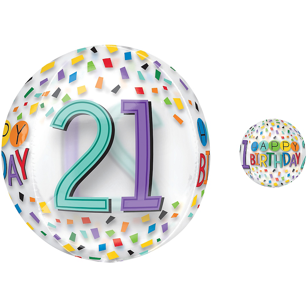 Colorful Confetti 21st Birthday Balloon - See Thru Orbz Image #1