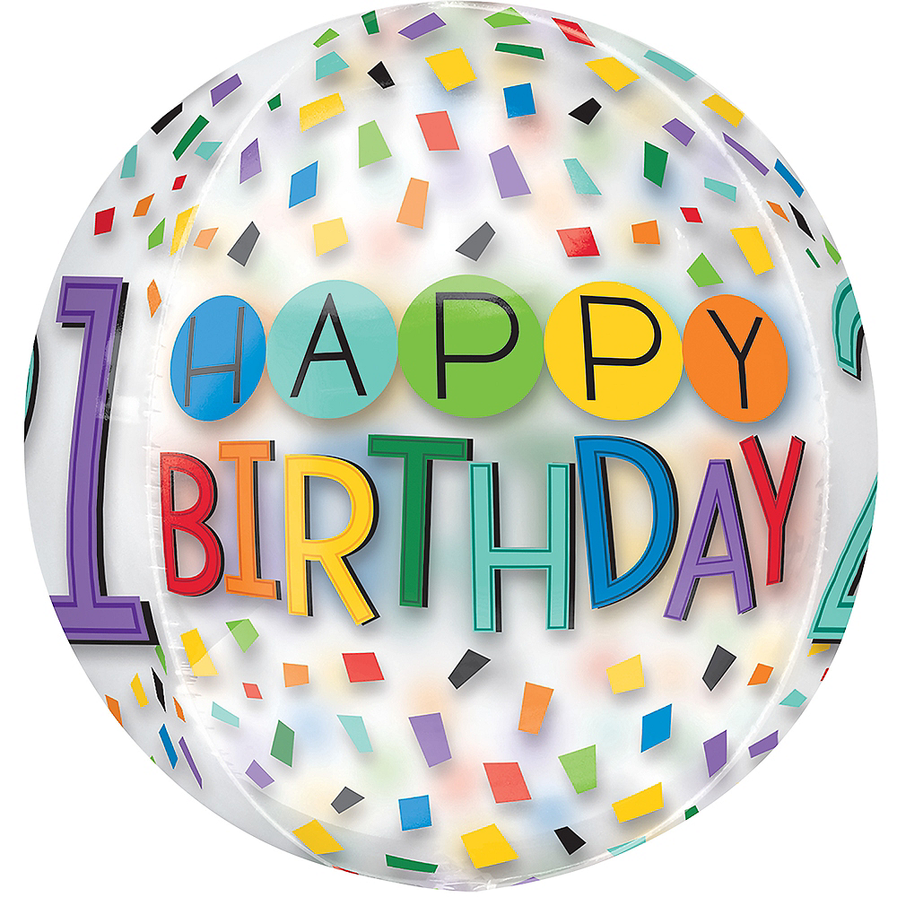 Colorful Confetti 21st Birthday Balloon - See Thru Orbz Image #2