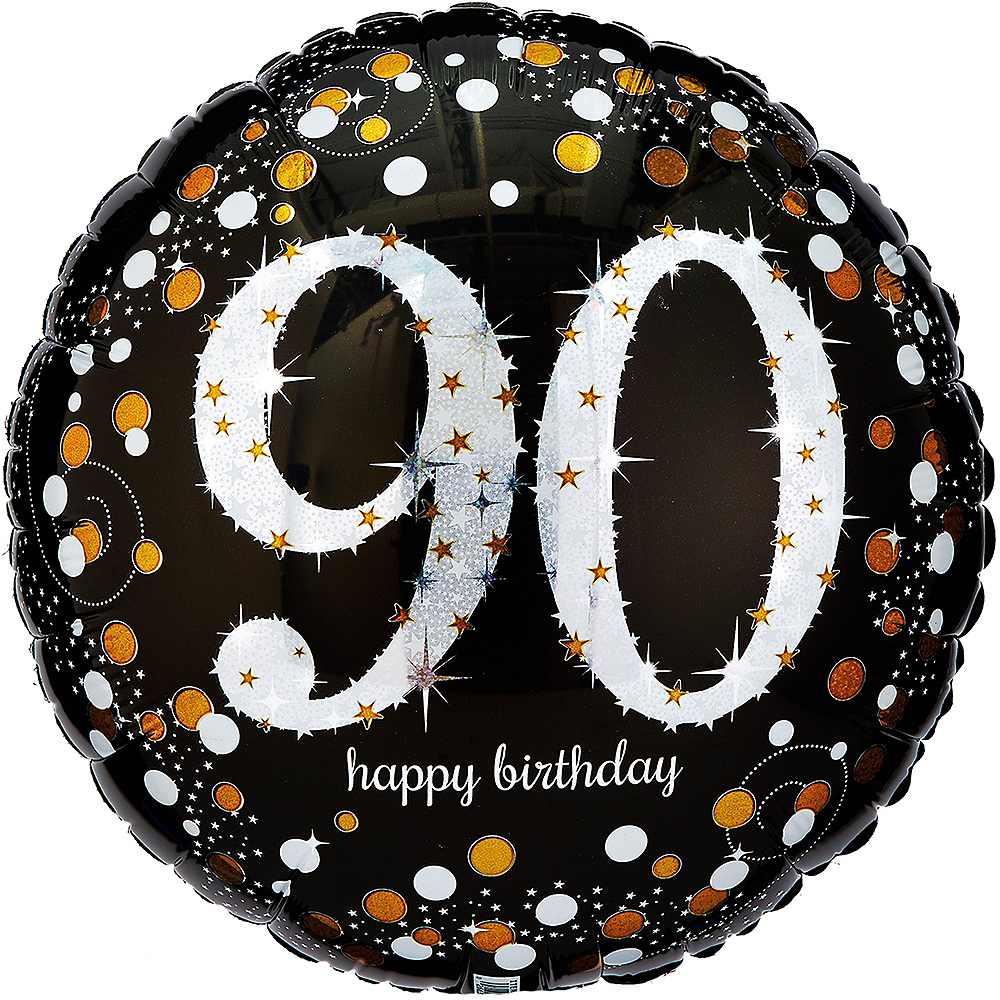 90th Birthday Balloon 18in - Sparkling Celebration Image #1