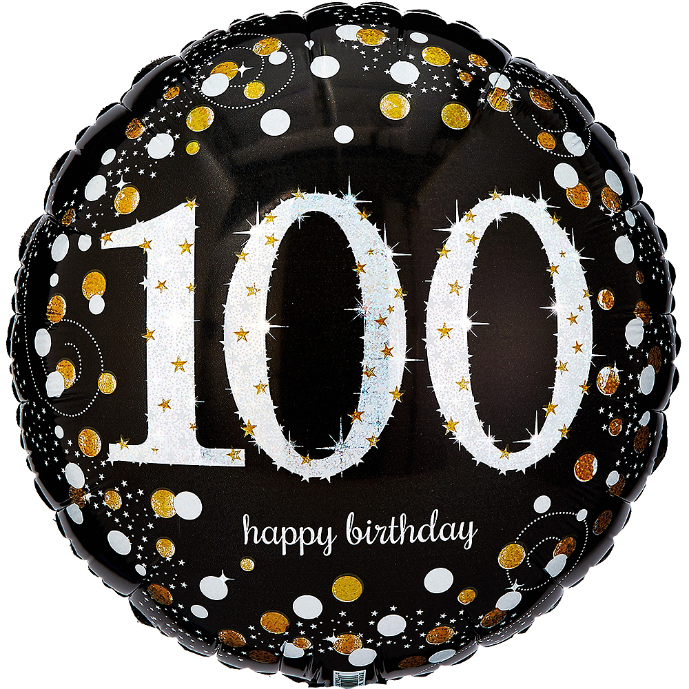 100th Birthday Balloon 18in - Sparkling Celebration Image #1