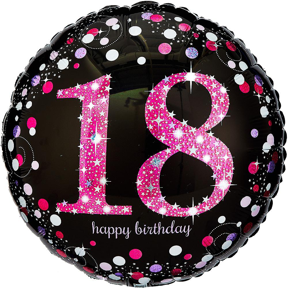 18th Birthday Balloon 18in - Pink Sparkling Celebration Image #1