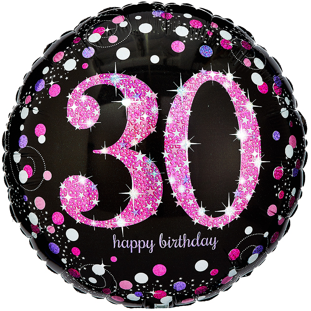 30th Birthday Balloon 18in - Pink Sparkling Celebration Image #1