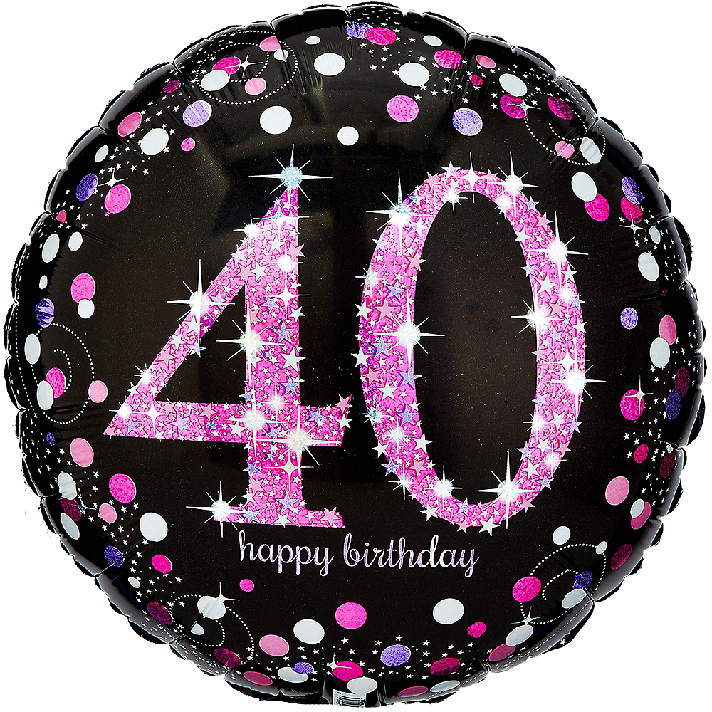 40th Birthday Balloon 18in - Pink Sparkling Celebration, 18in Image #1
