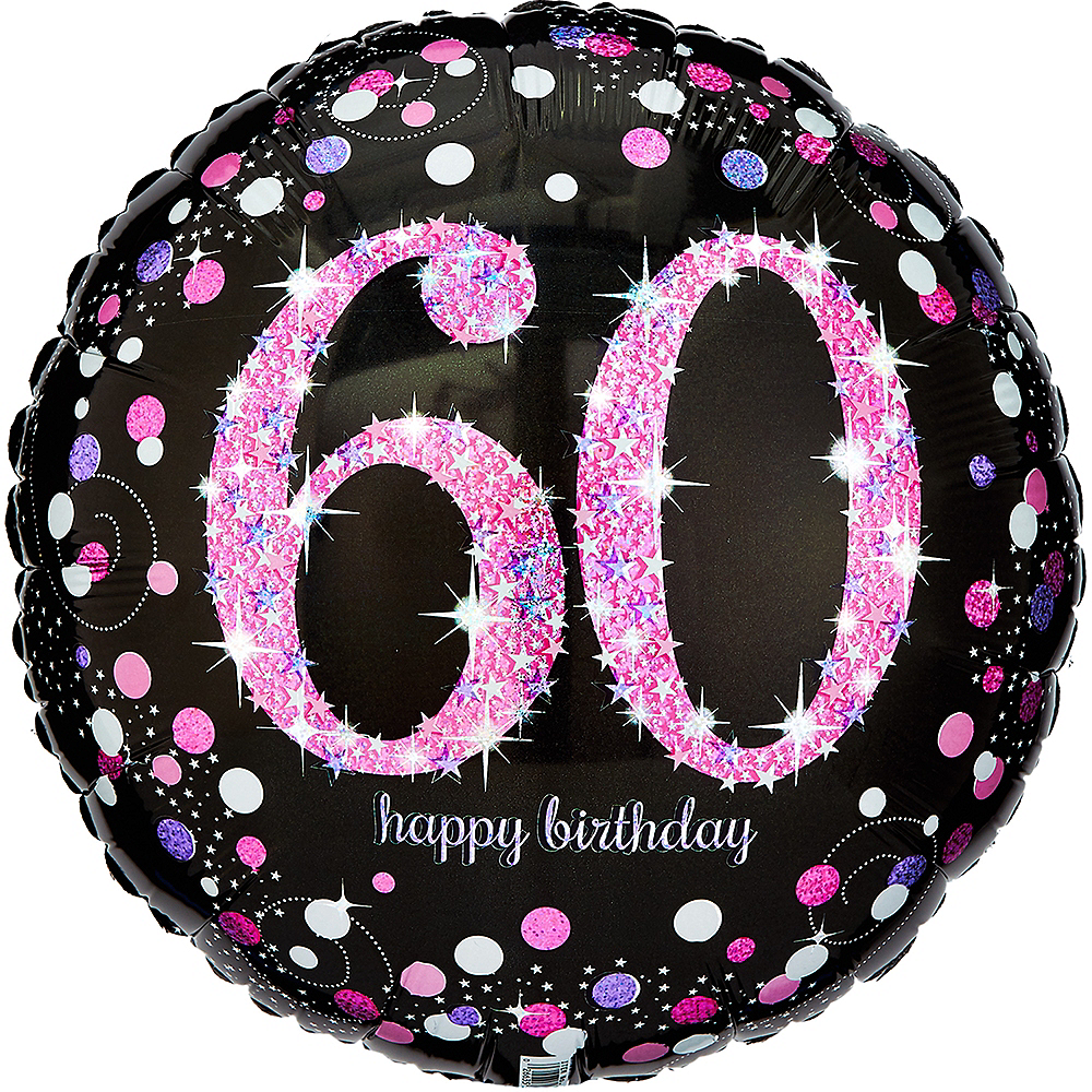 60th Birthday Balloon 18in - Pink Sparkling Celebration Image #1