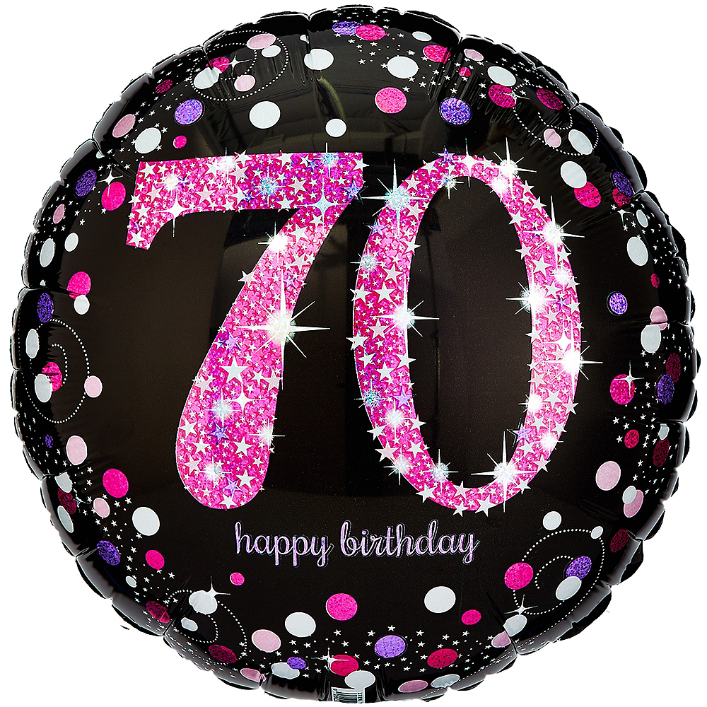 70th Birthday Balloon 18in - Pink Sparkling Celebration Image #1