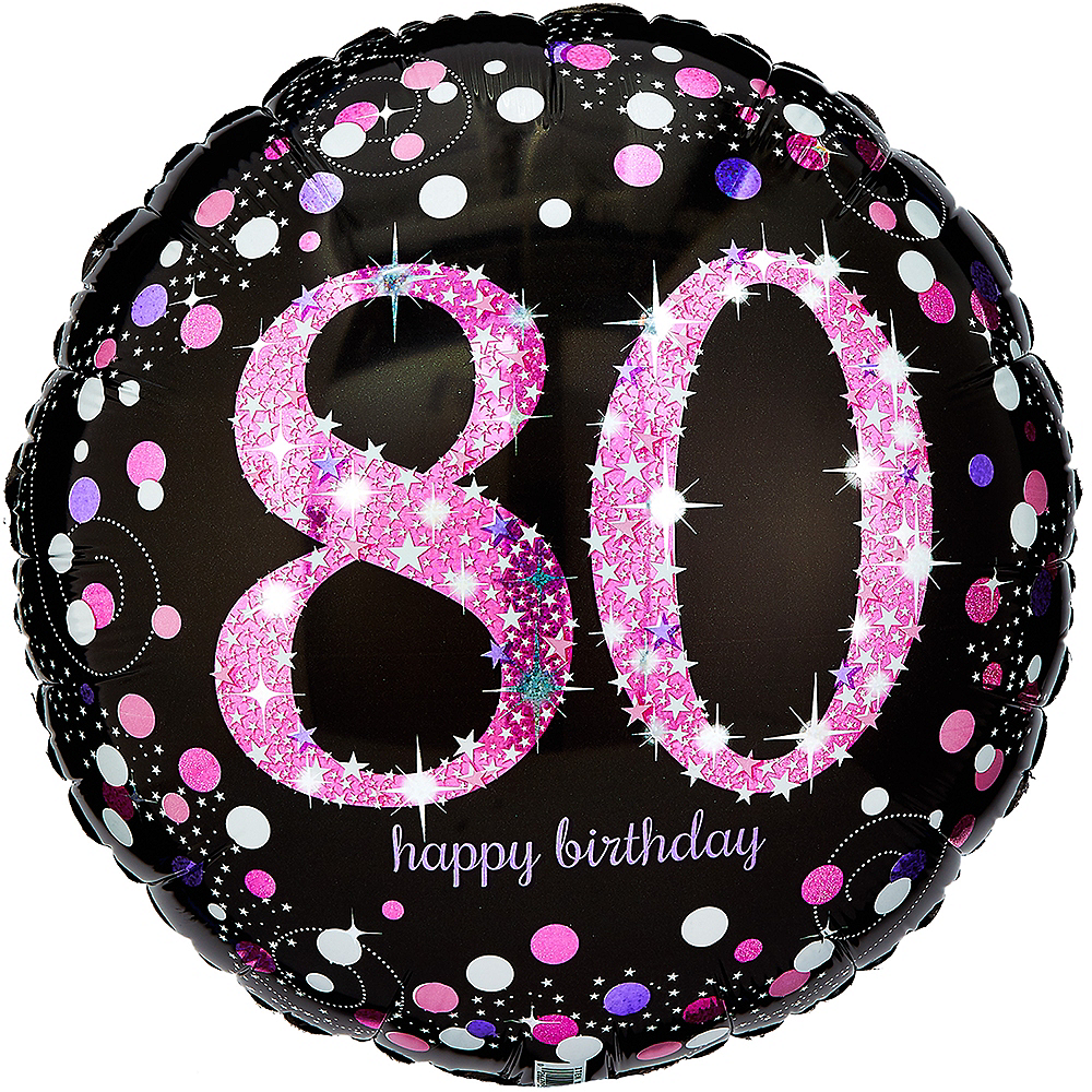 80th Birthday Balloon 18in - Pink Sparkling Celebration, 18in Image #1