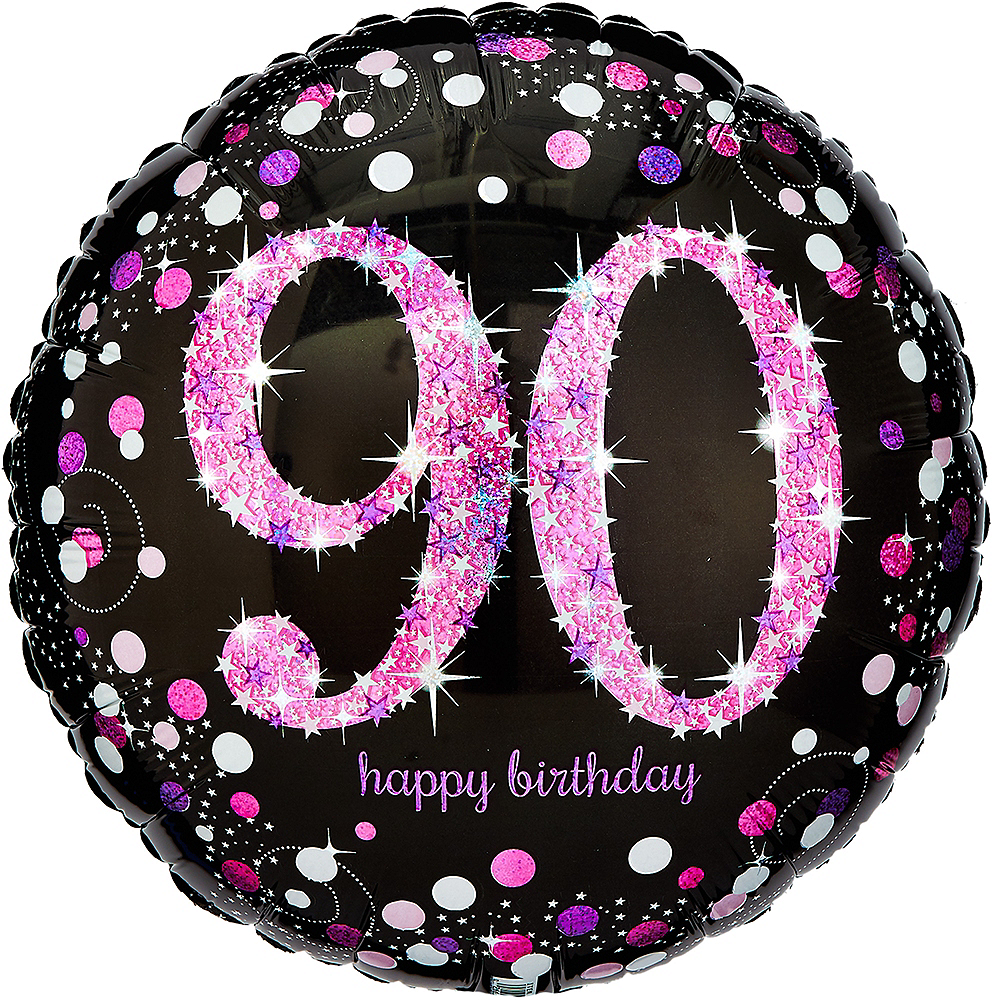 90th Birthday Balloon - Pink Sparkling Celebration, 18in Image #1