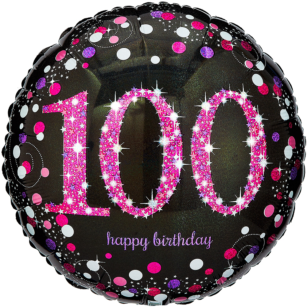 100th Birthday Balloon 18in - Pink Sparkling Celebration Image #1