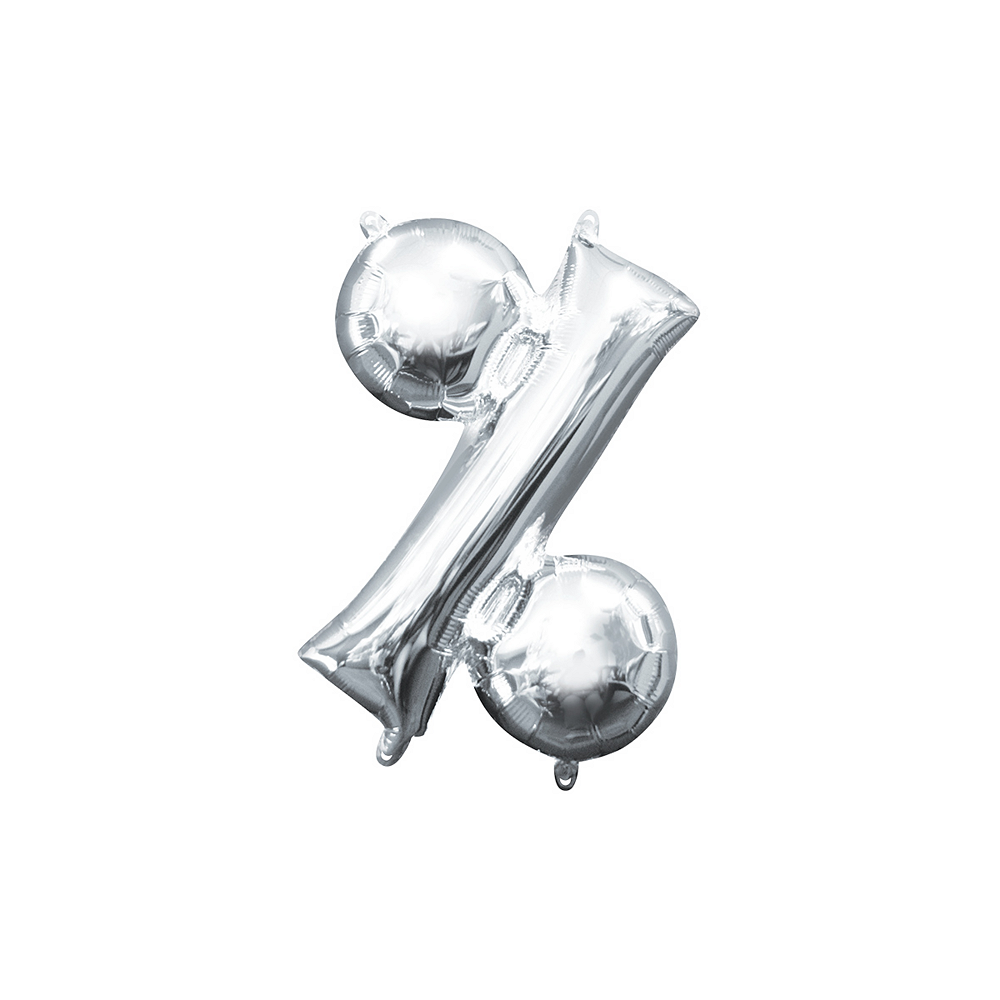 Air-Filled Silver Percent Symbol Balloon Image #1