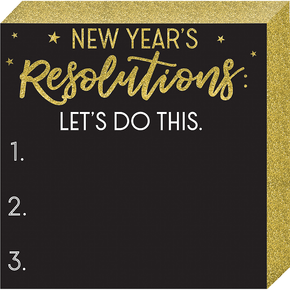 Glitter Gold New Year's Resolutions Chalkboard Sign Image #1
